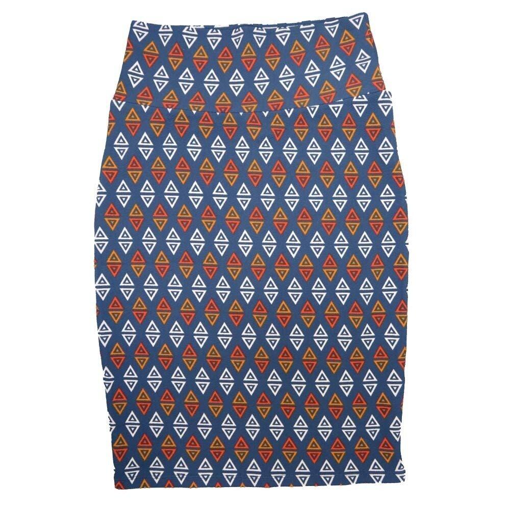 LuLaRoe Cassie X-Small XS Geometric Triangle Polka Dot Blue White Orange Womens Knee Length Pencil Skirt fits sizes 2-4