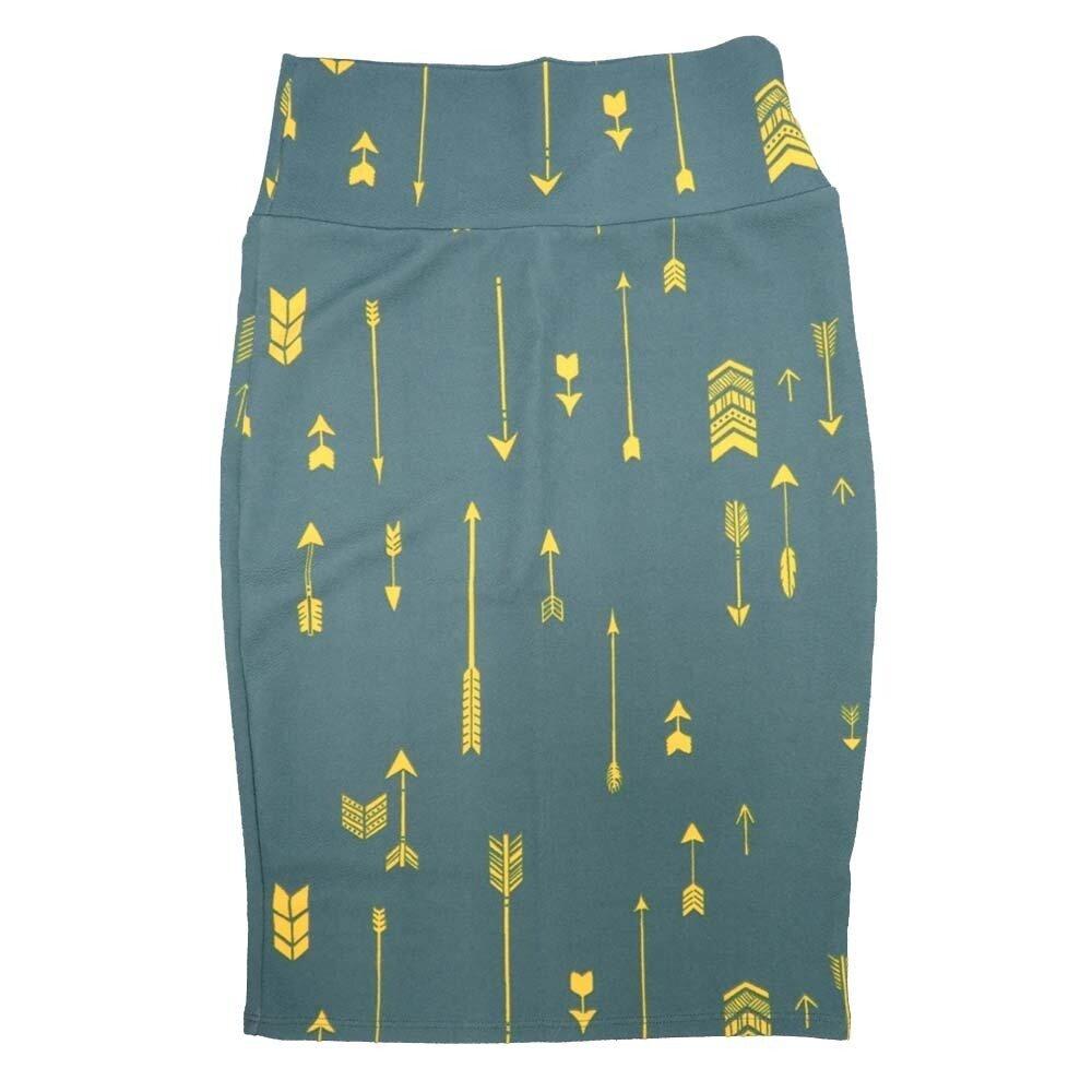 LuLaRoe Cassie X-Small XS Arrows Stripe Green Yellow Womens Knee Length Pencil Skirt fits sizes 2-4