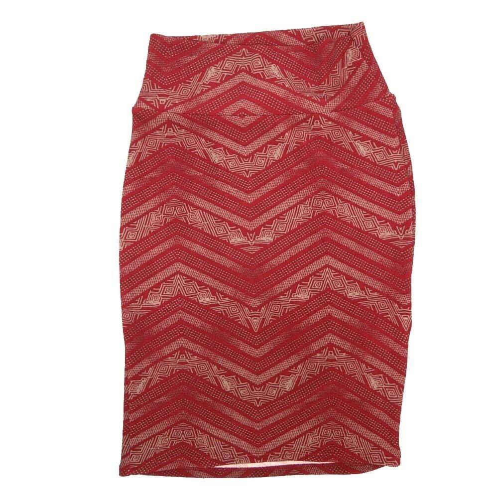 LuLaRoe Cassie X-Small XS Zig Zag Stripe Red White Womens Knee Length Pencil Skirt fits sizes 2-4