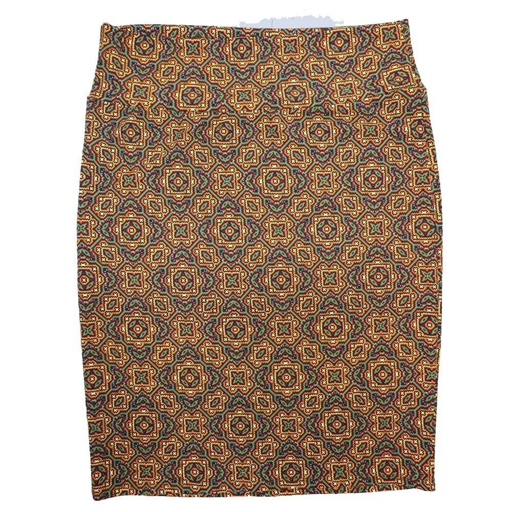 LuLaRoe Cassie XX-Large 2XL Mandala Geometric Trippy Orange Purple Green Womens Knee Length Pencil Skirt fits sizes 22-24