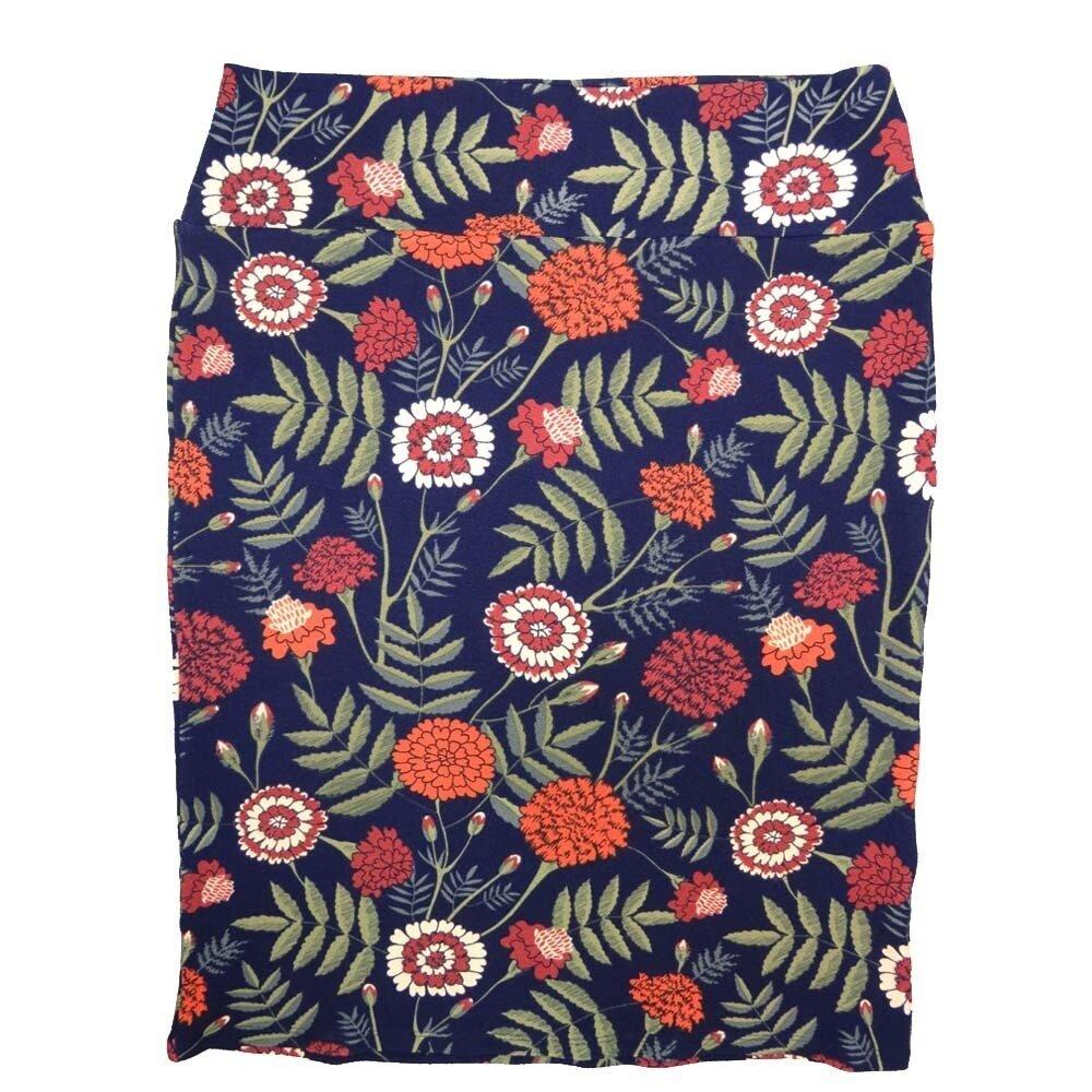 LuLaRoe Cassie XX-Large 2XL Floral Ark Blue Orange Green Womens Knee Length Pencil Skirt fits sizes 22-24