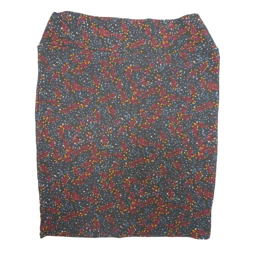 LuLaRoe Cassie XXX-Large 3XL Geometric Polka Dot Dark Blue Maroon Yellow Womens Knee Length Pencil Skirt fits sizes 24-26