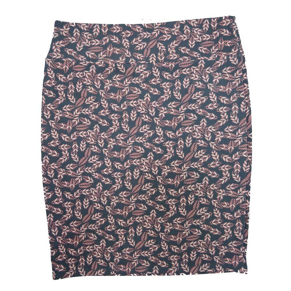 LuLaRoe Cassie XXX-Large 3XL Floral Leaves Dark Green Light Pink Womens Knee Length Pencil Skirt fits sizes 24-26
