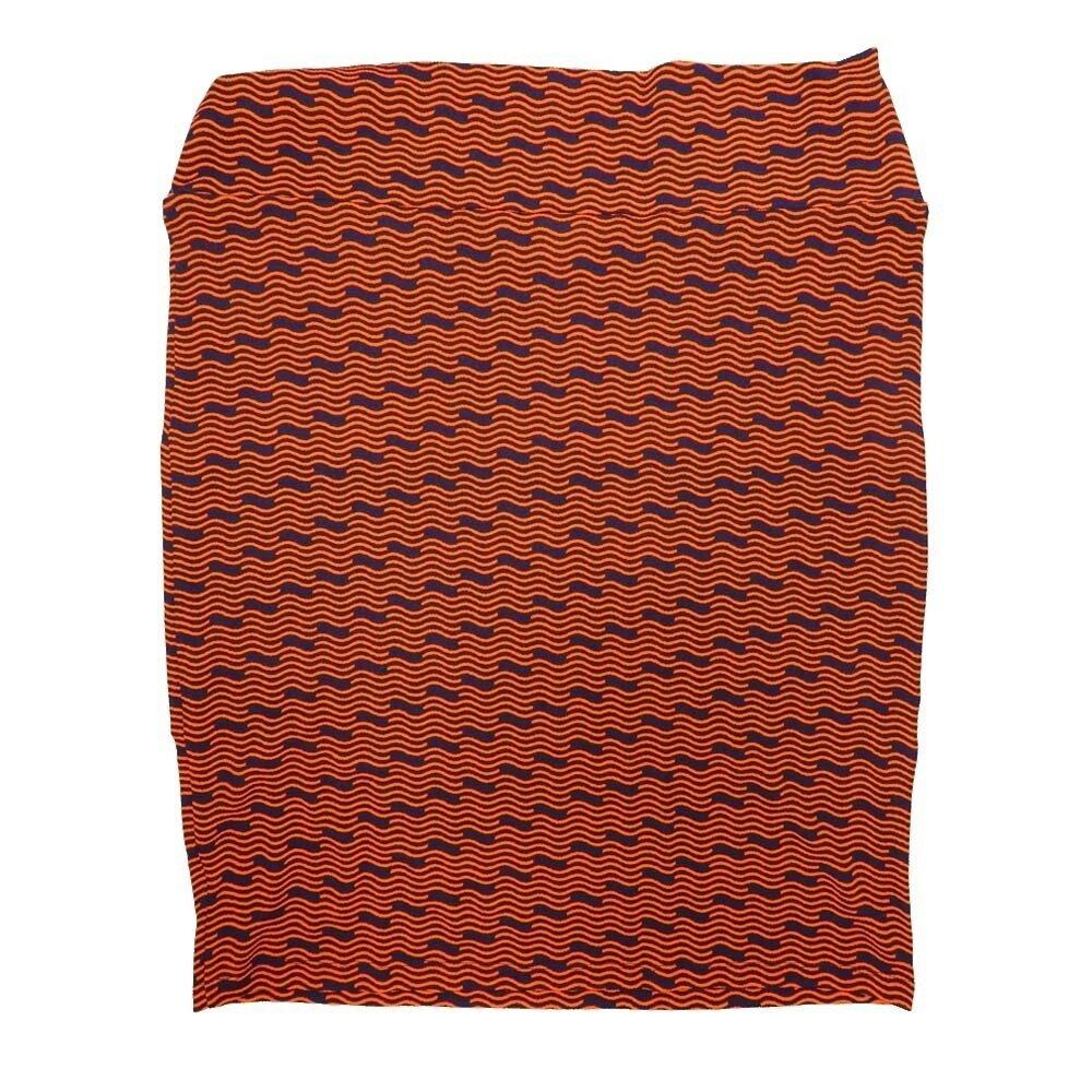 LuLaRoe Cassie XXX-Large 3XL Wavy Stripe Zig Zag Black Orange Womens Knee Length Pencil Skirt fits sizes 24-26