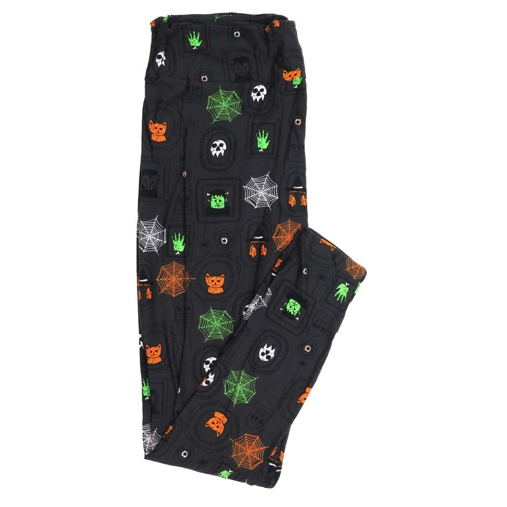 LuLaRoe TCTWO TC2 Halloween Witch Frankenstein Spiderwebs RIP Gravestone Dracula Skulls Gray Black White Green Buttery Soft Womens Leggings fits Adults sizes 18+  050964