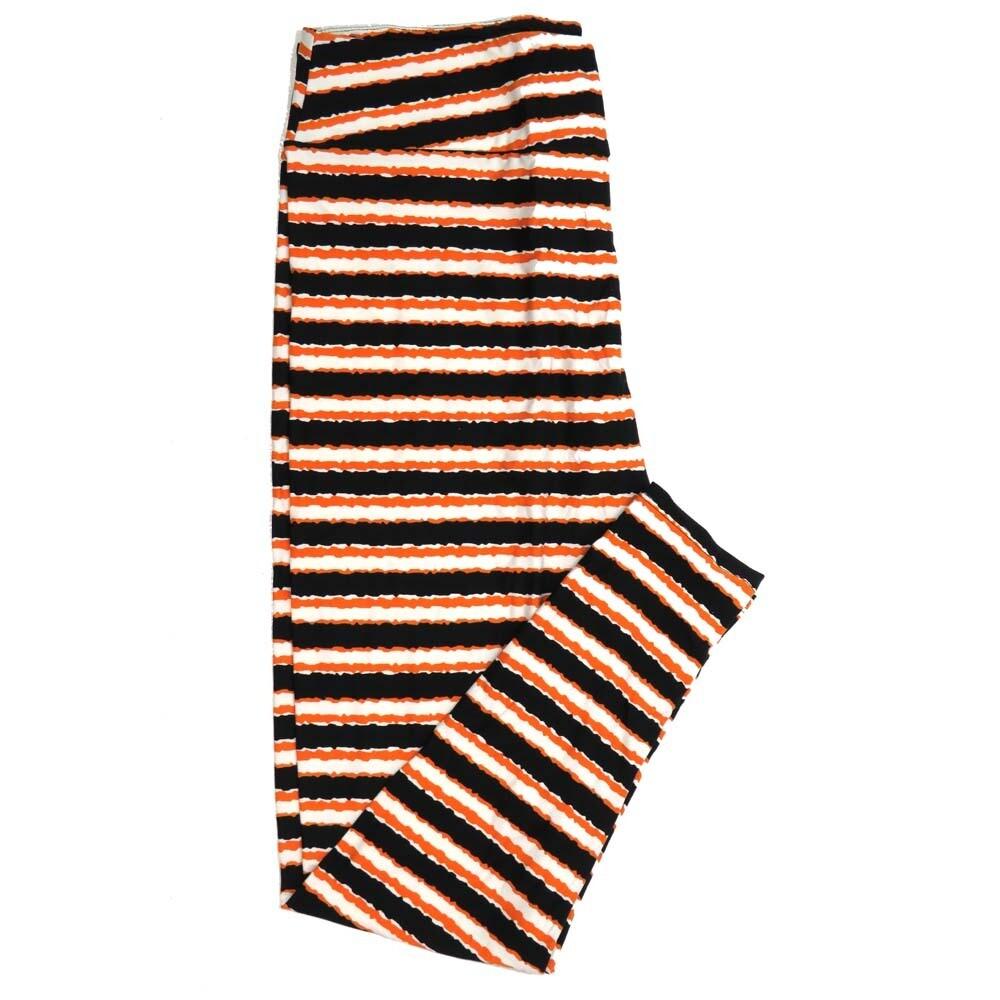 LuLaRoe TCTWO TC2 Halloween Black White Orange Stripe Buttery Soft Womens Leggings fits Adults sizes 18+  153052