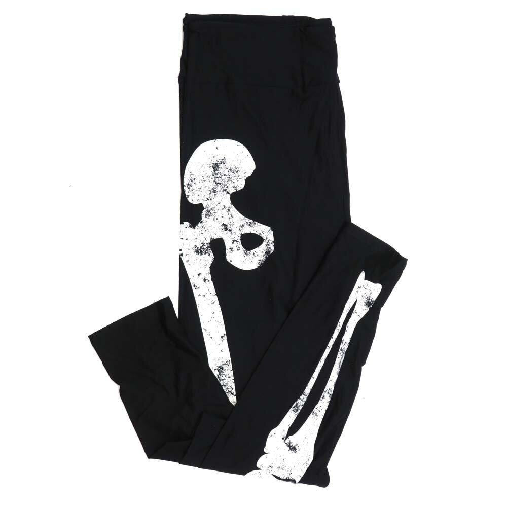 LuLaRoe Tall Curvy TC Halloween Black and White Skeleton Bones Legs Front only Solid Black back Womens Buttery Soft Leggings fits Adults 12-18 892386