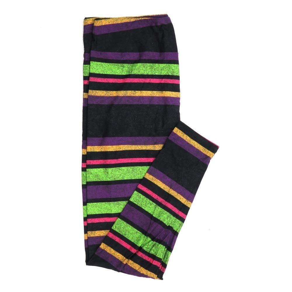 LuLaRoe Tall Curvy TC Halloween Stripe Speckled Black Yellow Purple Gray Womens Buttery Soft Leggings fits Adults 12-18 809283