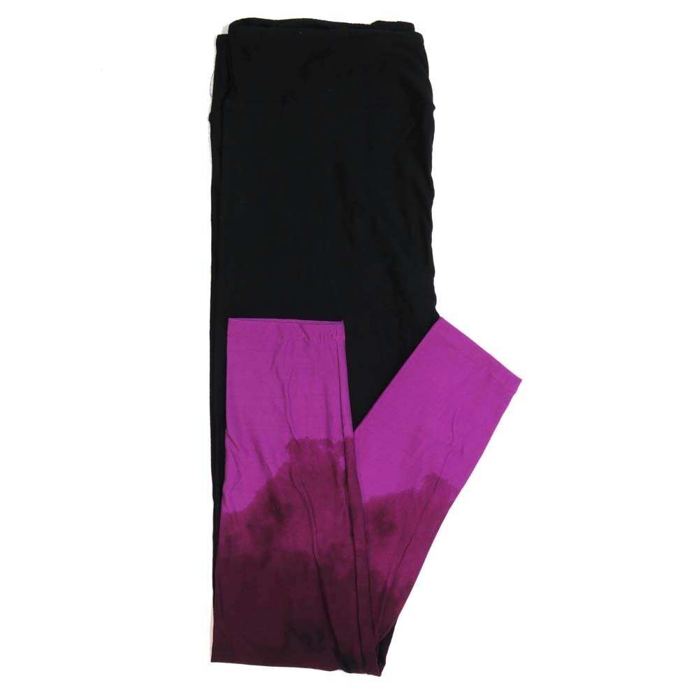 LuLaRoe Tall Curvy TC Halloween Solid Black with Hombre Pink Leg Bottoms Womens Buttery Soft Leggings fits Adults 12-18 160954