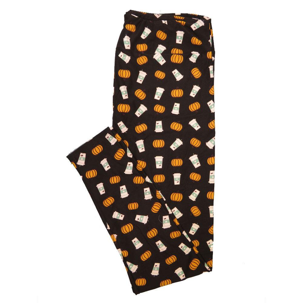 LuLaRoe Tall Curvy TC Halloween Latte Pumpkin Coffee Black White Orange a Womens Buttery Soft Leggings (TC fits Adults 12-18)