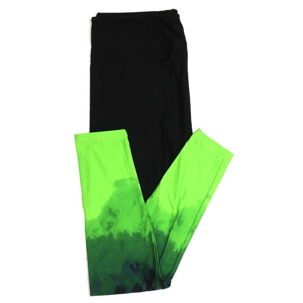 LuLaRoe One Size OS Halloween Solid Black with Bright Green Hombre Leg Bottoms Womens Buttery Soft Leggings fits Adults 2-10  933077