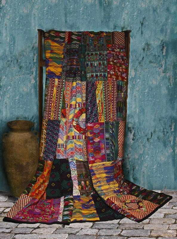 King-size Mixed Huipile Guatemalan Patchwork Quilt Sets