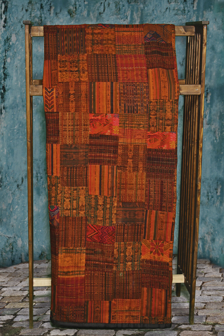 Handmade King-size Rust and Terracotta Guatemalan Patchwork Quilt Set