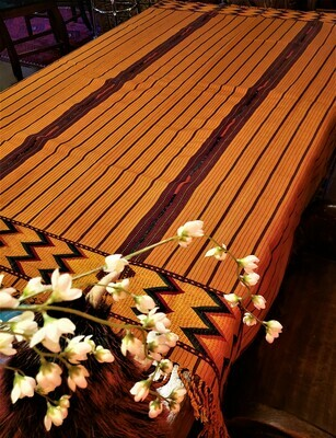 Yellow/Gold Handmade Zacualpa Table Cloth, Table Throw