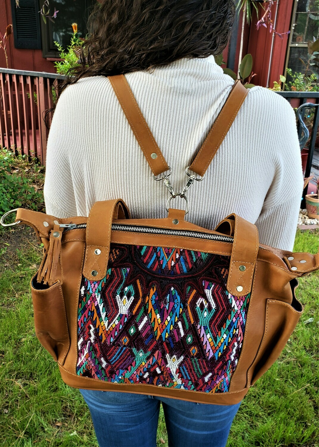 Handmade Guatemalan Backpack Shoulder Bag