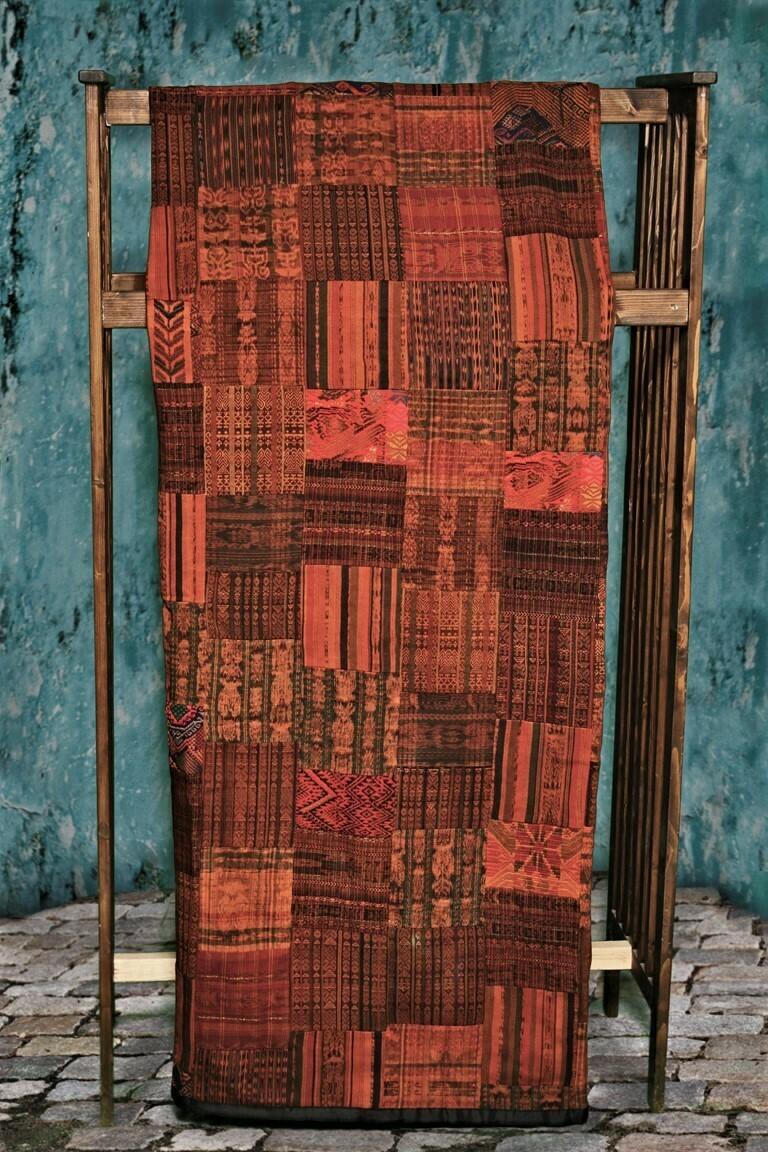 Handmade Queen-size Rust and Terracotta Guatemalan Patchwork Quilt Set