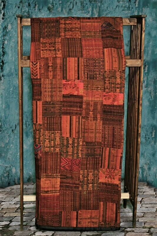 Handmade Queen-size Rust and Terracotta Guatemalan Patchwork Quilt Set