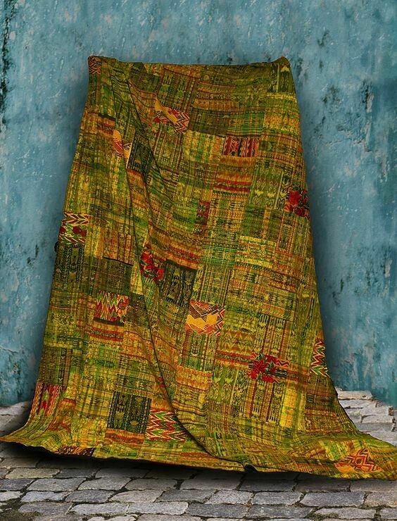 King-size Yellow/Gold/Green Guatemalan Patchwork Quilt Set