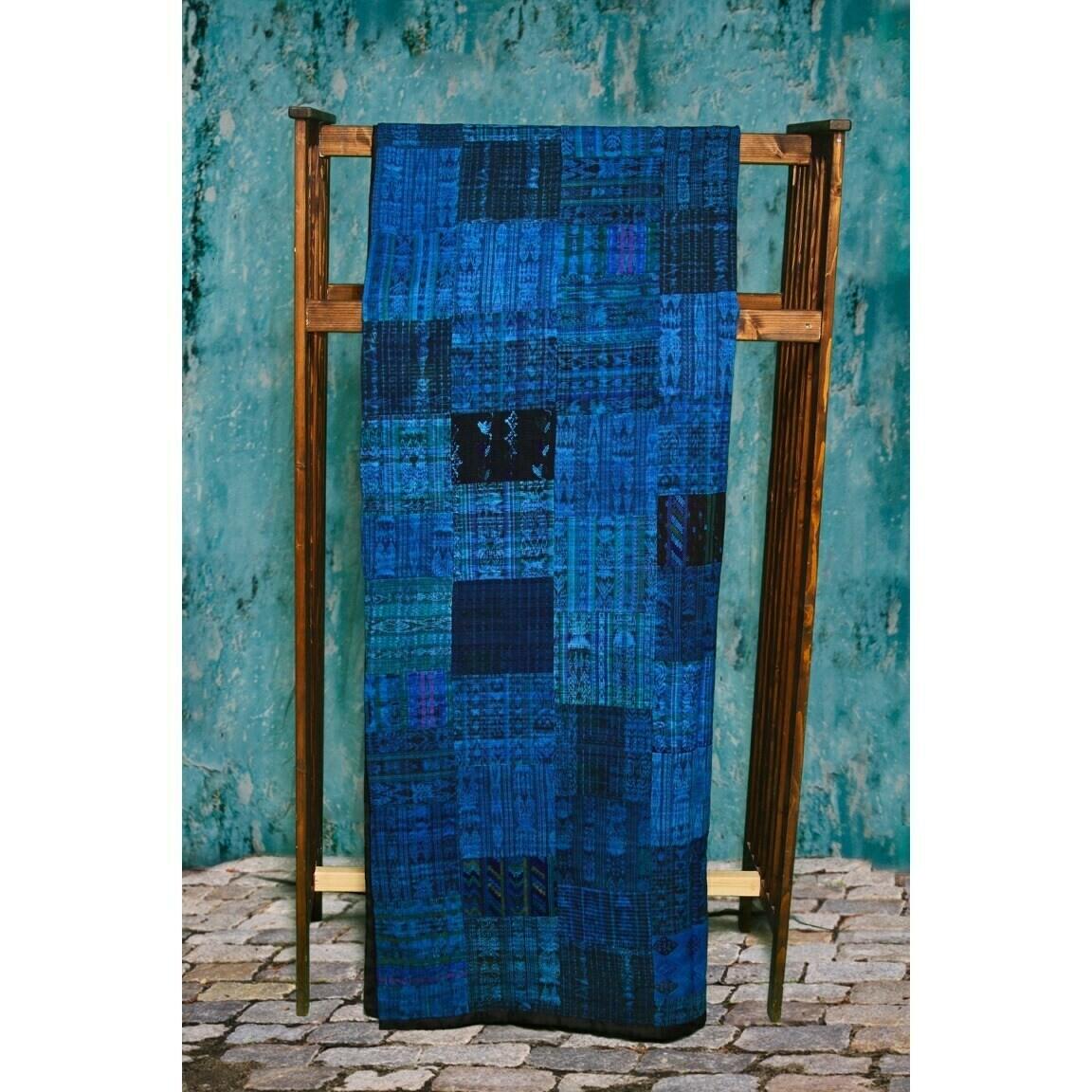 Handmade King-size Vivid Blue Guatemalan Patchwork Quilt Set