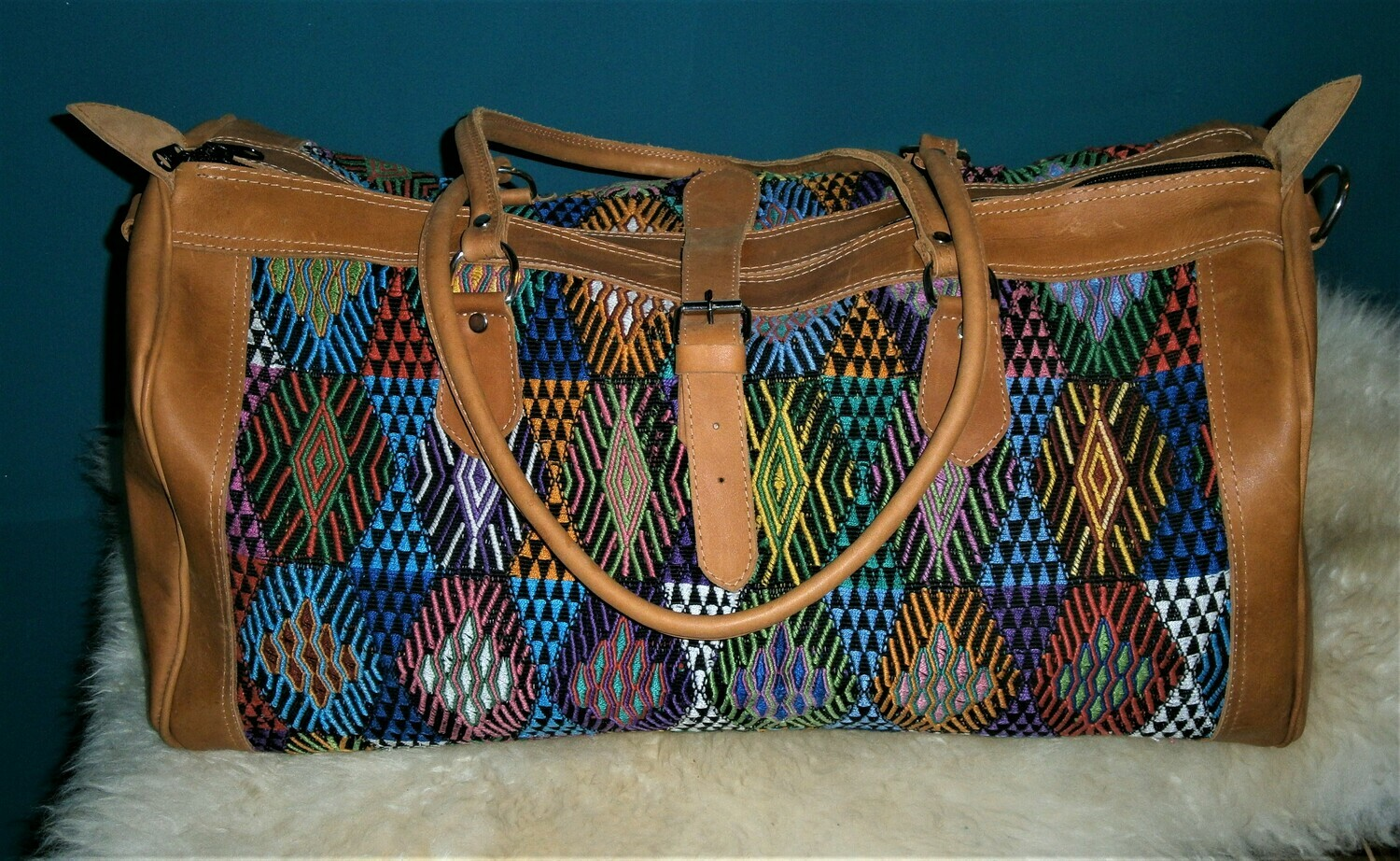 Guatemalan Leather & Huipile Weekender or Carry-On Bag