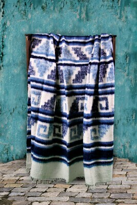 Queen-size Handmade Wool Blanket from Momomstenango, Guatemala