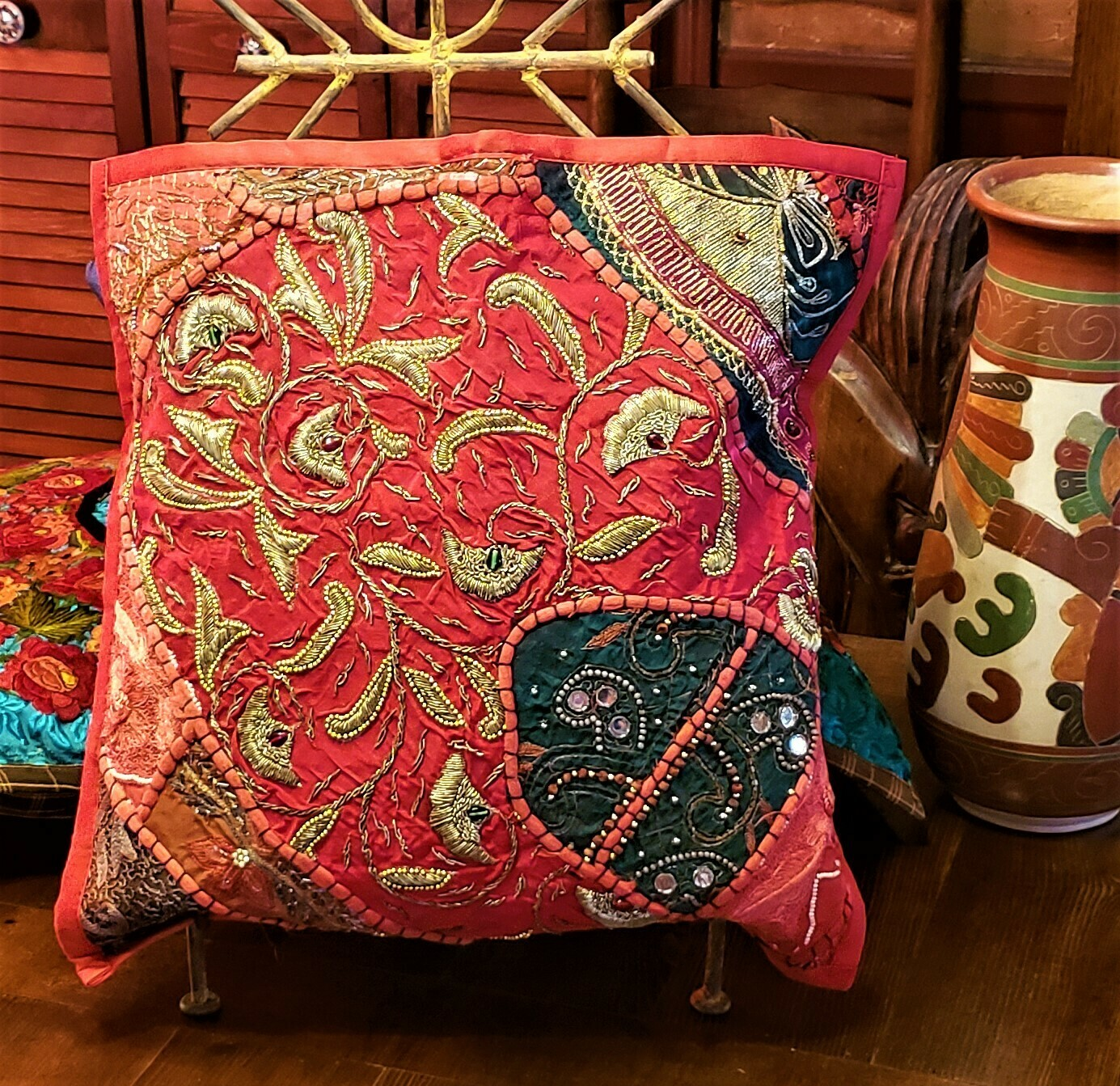 Moti Gala Embroidered & Jeweled Pillow Cover