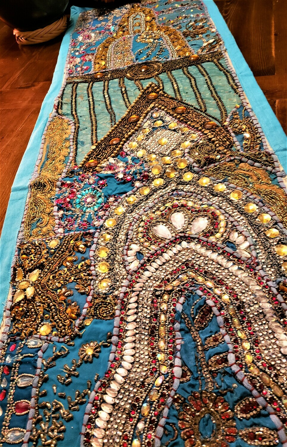 Embroideredand Jeweled Blue Gujarat Table Runner