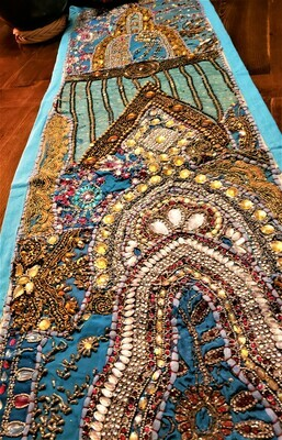 Embroidered and Jeweled Blue Gujarat Table Runner