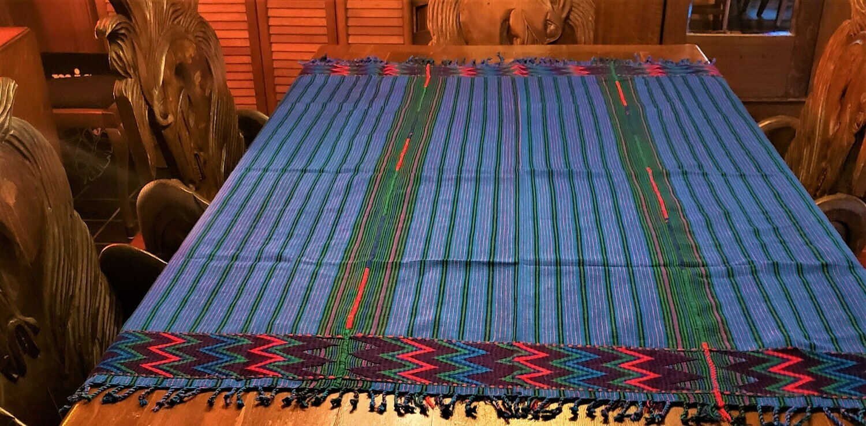 Handmade Vivid Blue Zacualpa Table Cloth or Table Throw