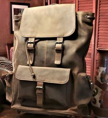 Large Rustic Leather Backpack