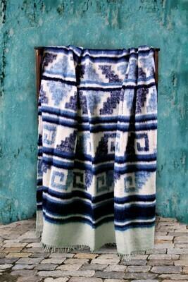 King-size Handmade Wool Blanket from Momomstenango, Guatemala