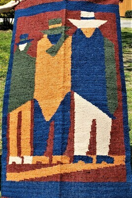"Hand Woven Wool ""Tres Hombres"" Guatemalan Wall Hanging"