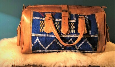 Blue Kilim and Leather Travel Bag