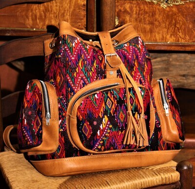 Hand-Woven Leather & Huipile Backpack