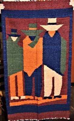 """Hand Woven Wool """"Tres Hombres"""" Guatemalan Wall Hanging"""