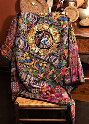 Mixed Huipile Embroidered  Lap  Blanket or Throw.