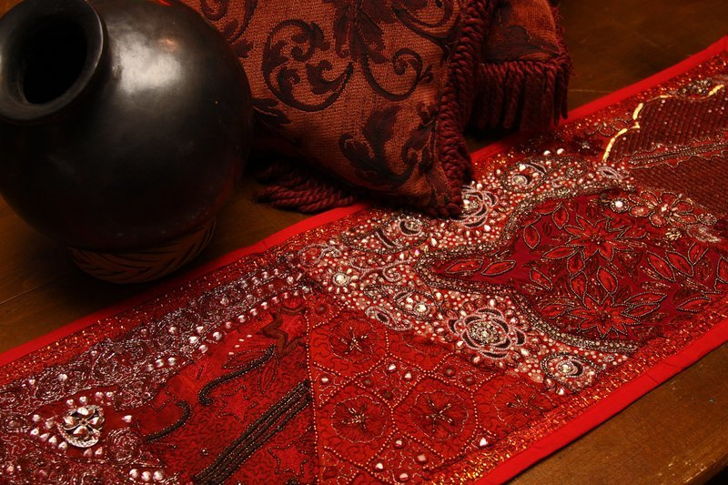 Embroidered Red Gujarat Table Runner