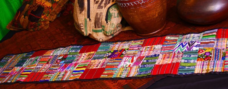 Embroidered Patchwork Huipile Table Runner