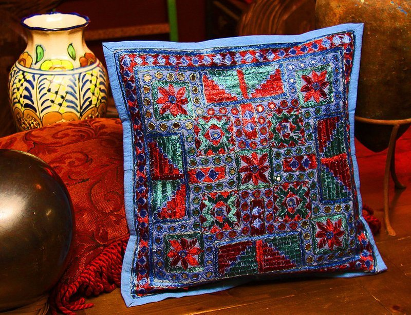 Blue Embroidered & Mirrored 16 inch Pillow Cover