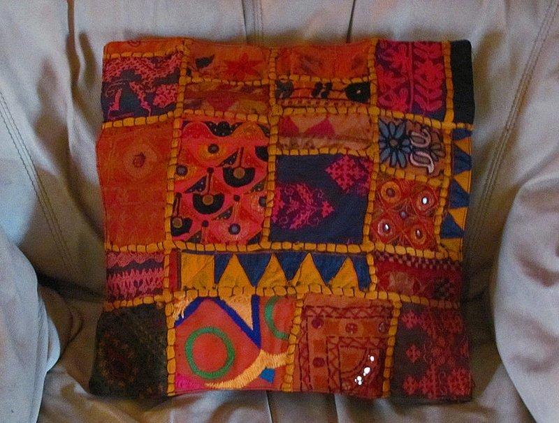 Gujarat Patchwork Throw Pillow Cover