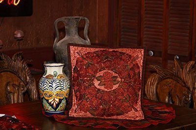 Red with Rust Embroidered Guatemalan Throw Pillow Cover