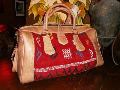 Red Kilim and Leather Travel Bag