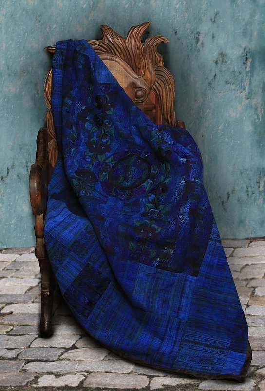Vivid Blue Embroidered Lap Blanket or Throw