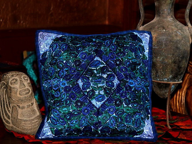 Vivid Blue Embroidered Guatemalan Throw Pillow Cover