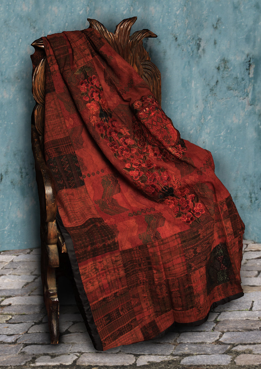 Red and Rust Huipile Embroidered Lap Blanket
