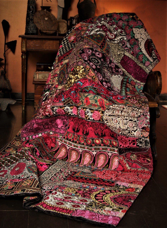 Queen Size Kuchi Patchwork Tapestry Bedspread