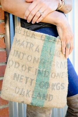 Coffee Burlap  Purse