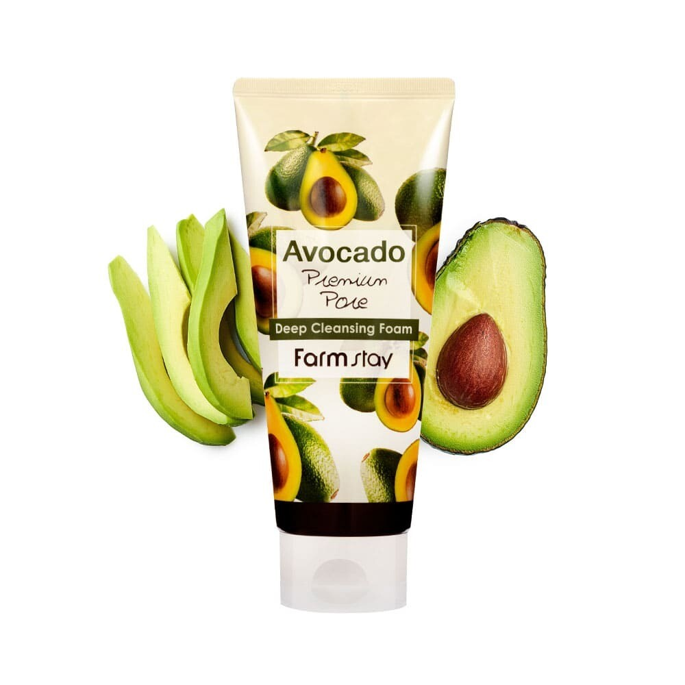 FarmStay Очищающая пенка для лица с маслом авокадо Avocado Premium Pore Deep Cleansing Foam