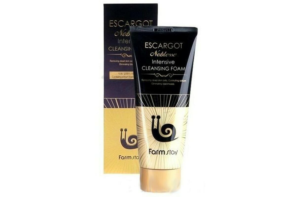 Пенка для очищения кожи лица с муцином королевской улитки FarmStay Escargot Noblesse Intensive Cleansing Foam 180 мл