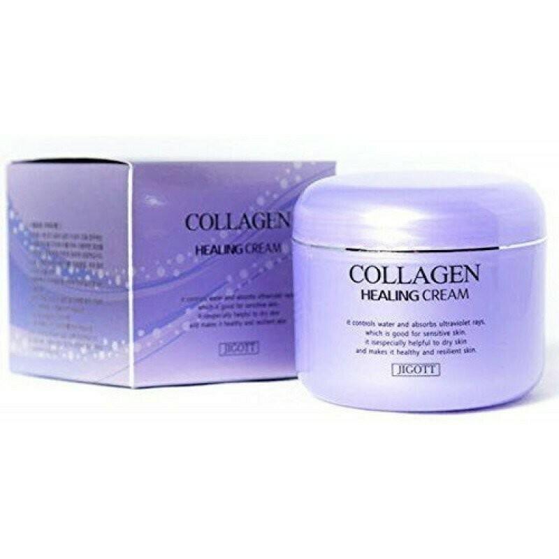 Ночной омолаживающий лечебный крем для лица с коллагеном Jigott Collagen Healing Cream 100 мл